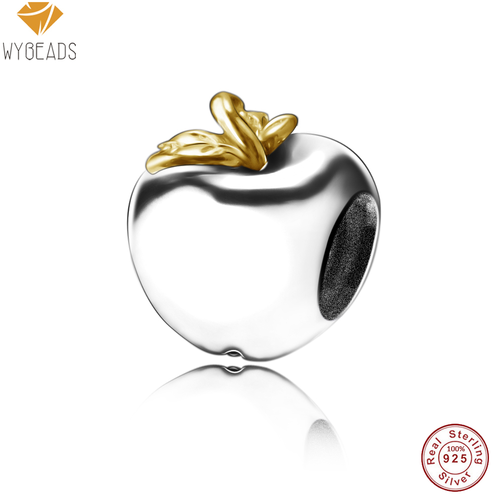 WYBEADS Fine 925 Sterling Silver Charms Apple European Bead Fit Snake Chain Bracelet Bangle DIY Original Jewelry Making