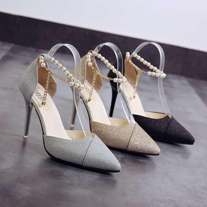 Zapatos marliasa Vrouwen Hoge Hakken para mujer, zapatos de tacón alto cómodos plateados, bonitos zapatos de boda dorados F3532