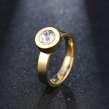 DOTIFI Titanium 316L Stainless Steel Rings For Women Round Engagement Wedding Ring Jewelry