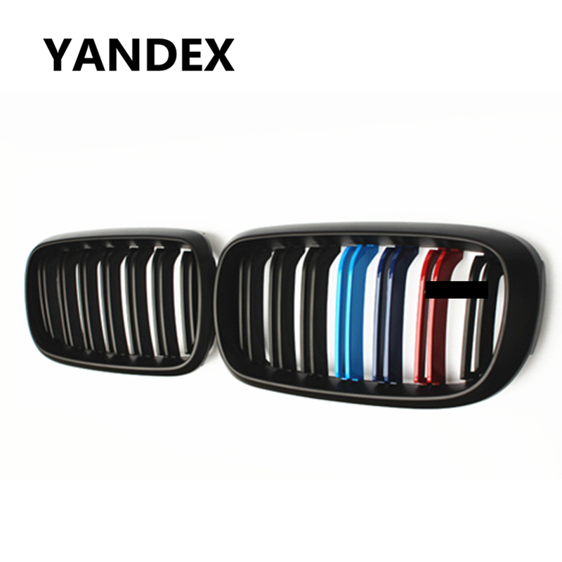 YANDEX x5m sport design dual-slat m color grille front bumper grill with emblem for bmw x5 f15 x6 f16 mesh 2015 2016 x5 x6 m performance sport design m color front grill dual slat kidney custom auto grille fit for bmw 2015 2016 f15 f16 suv