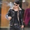 S-5XL ГОРЯЧИЕ 2016 зимние Новые мужские меховые пальто стенд воротник Корейский Тонкий прилив мужской Кожаный куртка теплая одежда мотоциклетная куртка