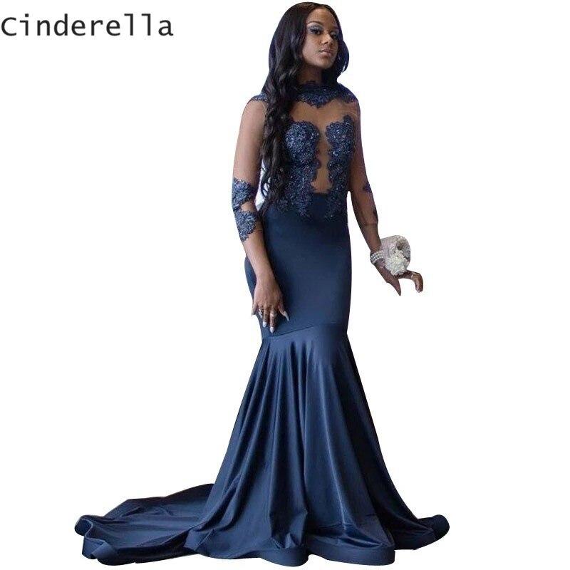 Cinderella Dark Navy Lange Mouwen Avondjurken Lace Applique Crystal Kralen Zijde Satijn Mermaid Cocktail Party Prom Dresses