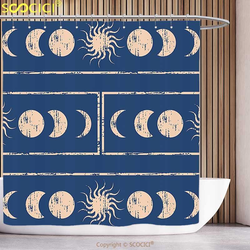 Fun Shower Curtain Sacred Geometrty Decor Grungy Ethnic Design of Planetary with Sun Moon Phases of Mystery Blue Cream Bathroom