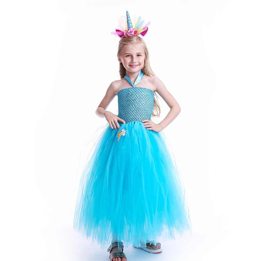 Vestido de tutú de niñas de arco iris mullido con diadema princesa niños Pony cumpleaños fiesta tutú vestido de niña Halloween carnaval disfraz