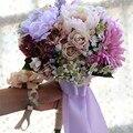 2016 Damas de Honor Ramos de Novia de Flores Lilas Colorido Artificial Ramo de Simulación de Alta de Novia Mano Que Sostiene Las Flores