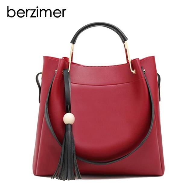 Berzimer New Gorgeous Women Handbag Fashion Tassel Black Green Red Beige Handbags Crossbody Bags Elegant
