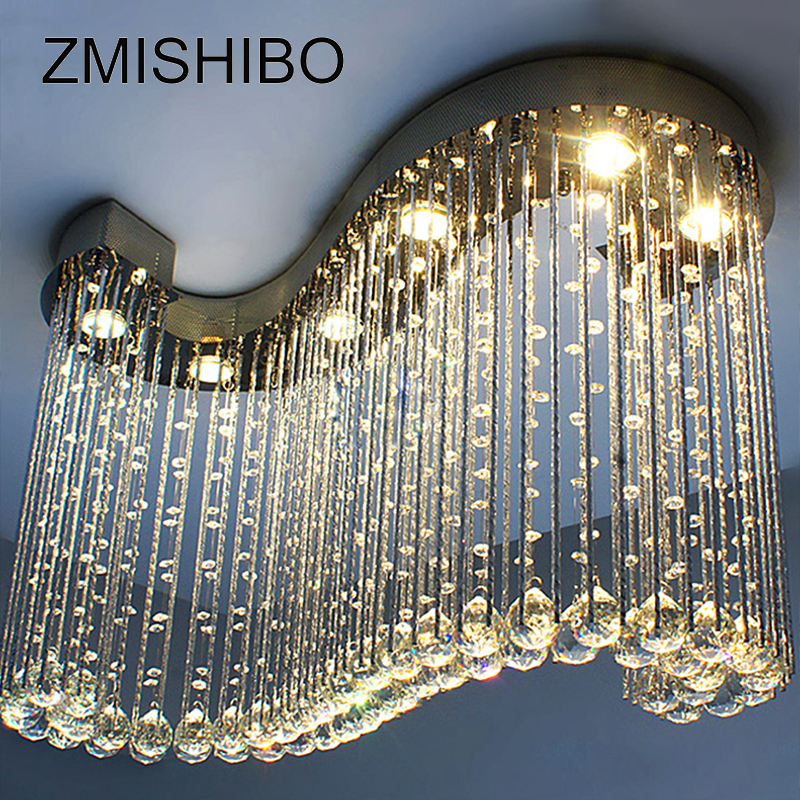 ZMISHIBO Luxury Clear Crystal Ceiling Pendant Lamp S Shape 80*30*60CM 6pcs Gu10 Bulbs Surfaced Mounted Lighting For Living Room zmishibo wave crystal pendant ceiling lamp 5 6 led bulbs 110 220v surface mounted hanging chandelier for dining room hotel palor