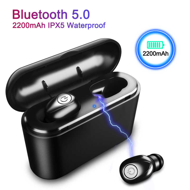 X8 TWS True Bluetooth Earphone 5D Stereo Wireless Earbuds Mini TWS Waterproof Headfrees with Charging Box 2200mAh Power Bank