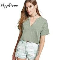 FlyyeDemo 2017 Summer T Shirt Women Casual Crop Tops Hot Sale Sexy V Neck Women T