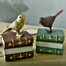 Antique Bookcase Study Ornaments Bird Home Decor Resin Crafts Creative Decor Home Furnishing Bookend Bookshelf