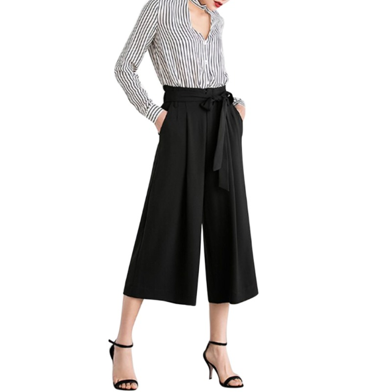 Elastic High Waist Tie Bow Cropped Wide Leg Pants Women Casual Loose Pleated Trousers