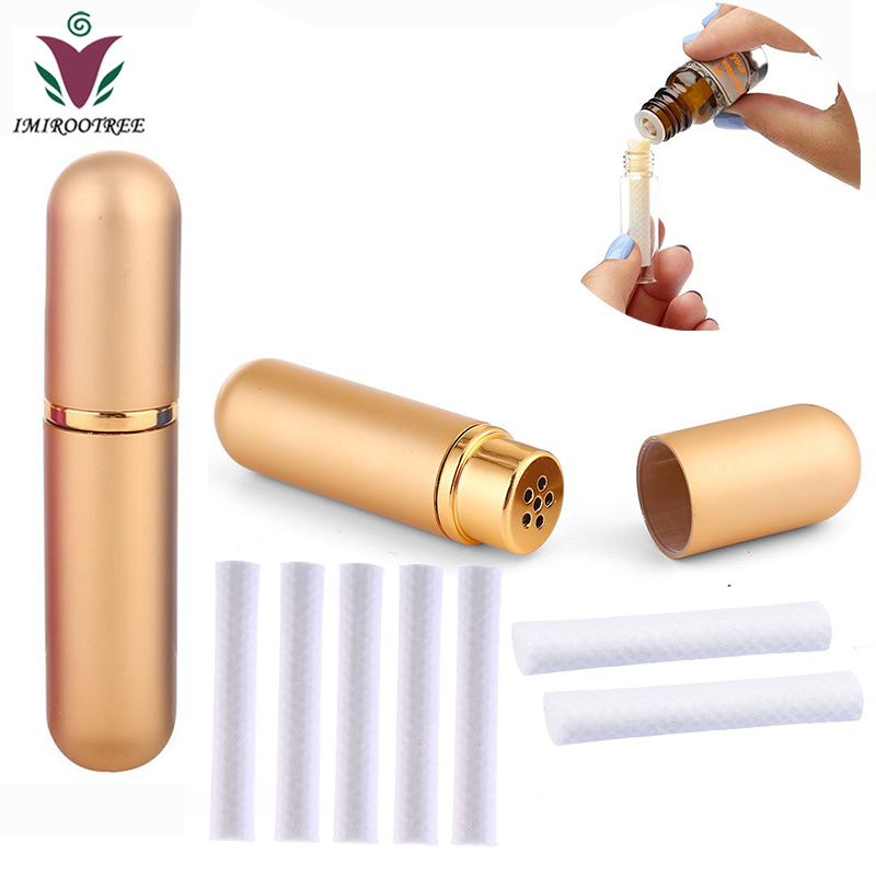 FreeShip 24pcs Colored Essential Oil Aromatherapy Blank Nasal Inhaler Metal Aluminum Inhaler With 48pcs High Quality Cotton Wick