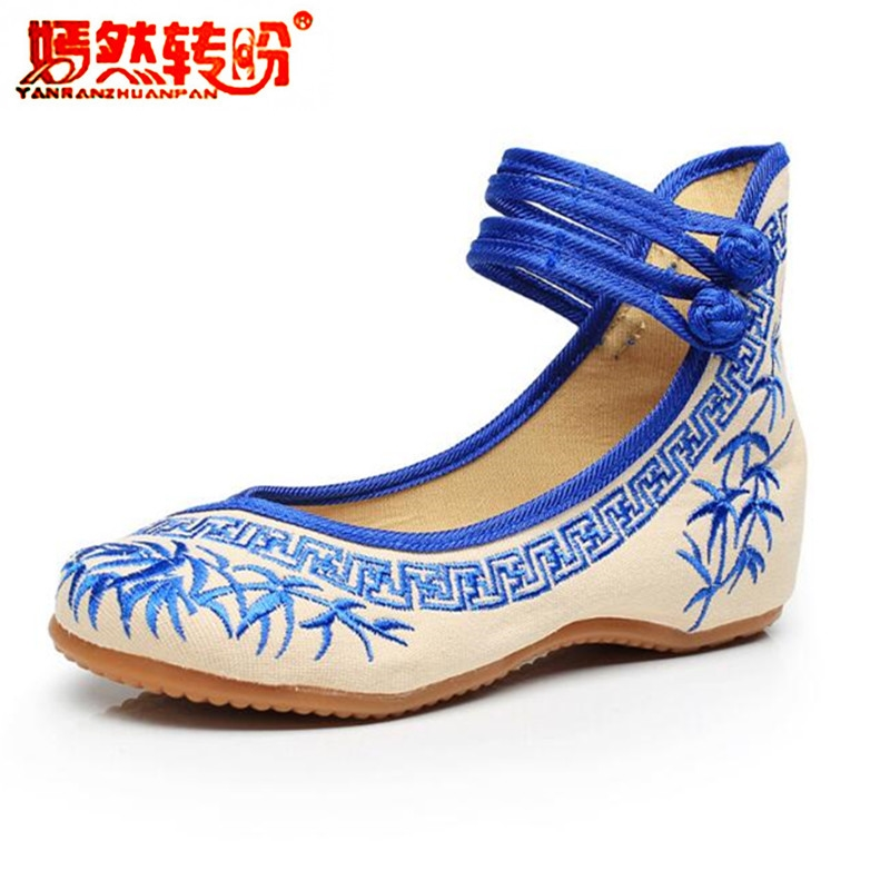 Chinese Style Bamboo Blue And White Porcelain Embroidered Cloth Dance Shoes Women's Ankle Strap Flat Shoes Canvas Mary Jane blue and white canvas anti static shoes esd clean shoes pharmaceutical shoes work shoes add cotton