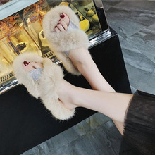 Indoor Slipper Soft Plush Cotton Slippers Shoes Non-Slip Floor Home Furry Slippers Women Shoes For Bedroom Female