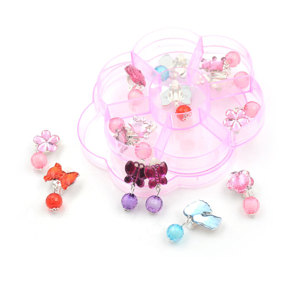 7Pairs/Box Lovely No Pierced Pendant Design Earrings Clip-On For Children Kid ZY  Children's Baby Girl Clip On Earrings Kids