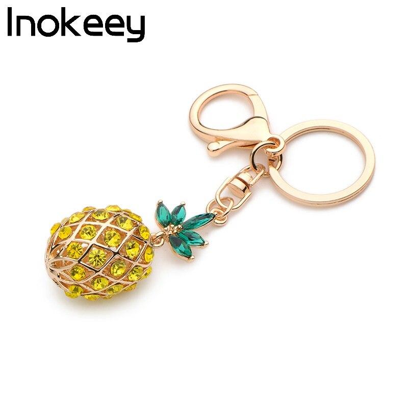 Inokeey Alloy Sárga Crystal Ananász Key Chain Népszerű - Divatékszer