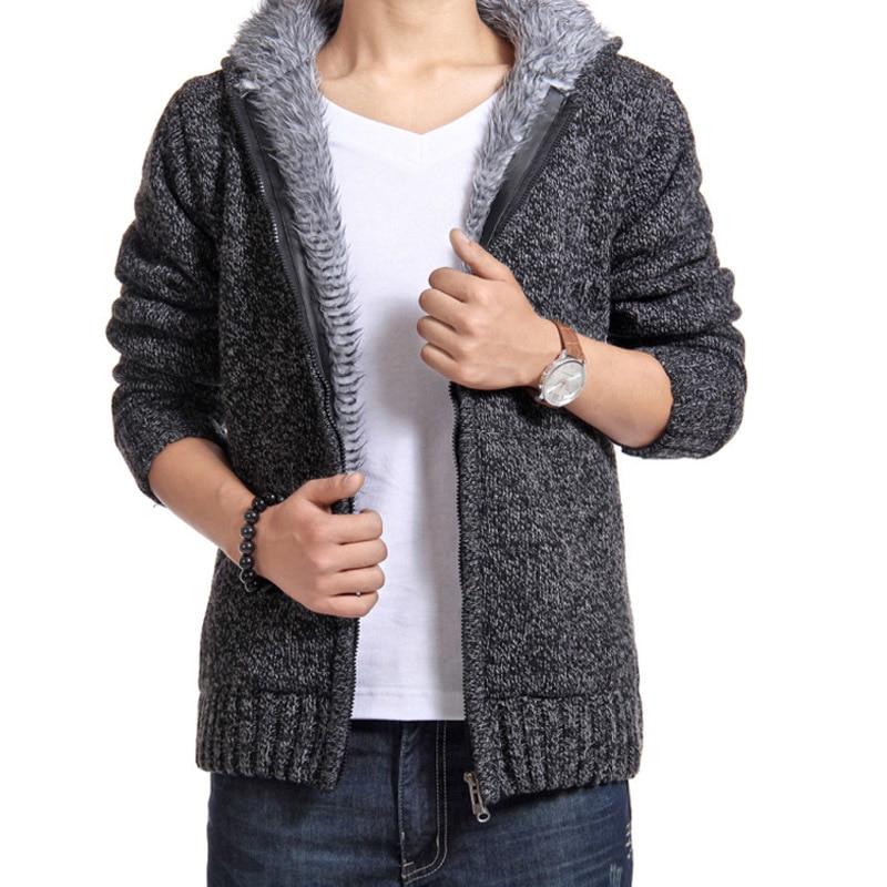 Titmsny Autumn Winter Hoodies Men Thick Jackets Casual Warm Fur Inside Outwear Sweat Homme Coat Thermal Sweatshirts Men Hoodie