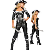 Cool Pu Leather Pirate Black Costumes For Women Female Cosplay Costume Fancy Halloween Costume For Girl