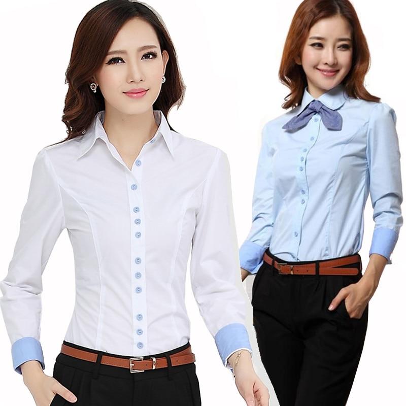 Nouveau 2017 automne hiver femmes chemise à manches longues en coton OL  travail usure des vêtements féminins blouse shirts 34e64f5577b7