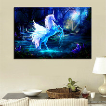 Canvas Poster Living Room Wall Art 1 Piece/Pcs Unicorn Horse Paintings HD Prints Abstract Pegasus Pictures Home Decor Framework(China)