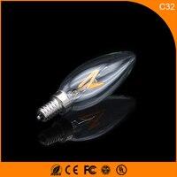 50PCS 2W E12 E14 LED Bulbs ,C32 LED Filament Candle Bulbs 360 Degree Light Lamp Vintage pendant lamps AC220V