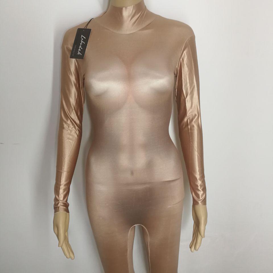 Solid Color Sexy Nude jumpsuit Leotard Big Stretch Rompers bodysuit Bar nightclub DJ singer dance costume Prom jazz performance