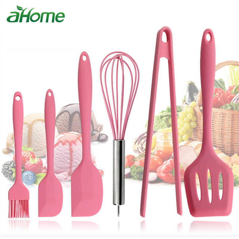 Pink Silicone Cookware Sets 6 pieces Egg Beater Spoon Clip Spatula Oil Brush kitchenware 6 Dresses kitchen Tools