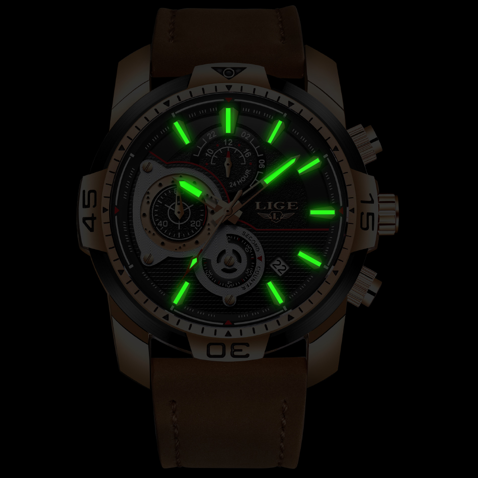 2020 LIGE Mens Watches Top Brand Luxury Casual Leather Quartz Clock Male Sport Waterproof Watch Gold Watch Men Relogio Masculino 4