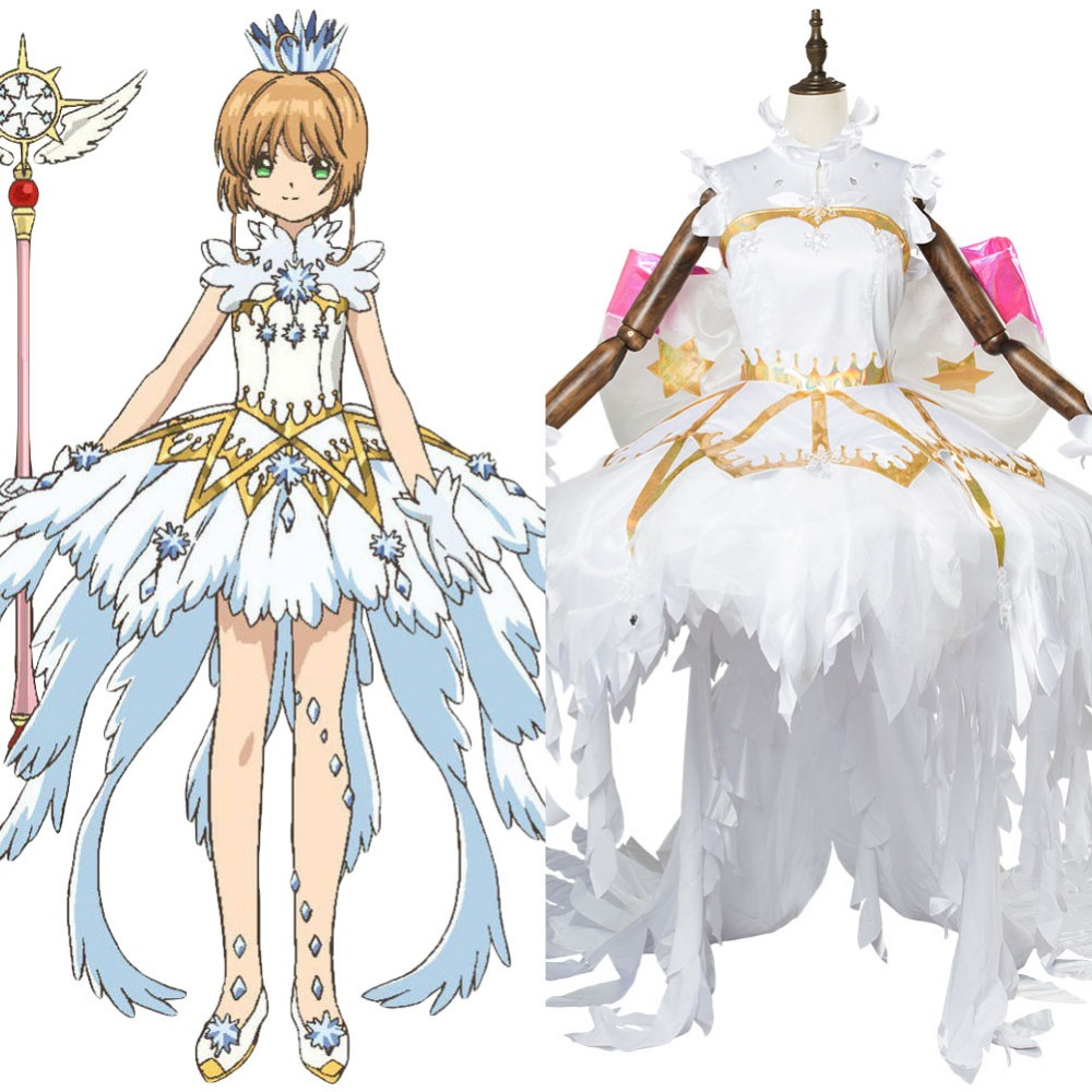 Anime Cardcaptor Sakura:Clear Card Sakura Kinomoto Snow Angel Dress Cosplay Costume Women Halloween Carnival Cosplay Costume