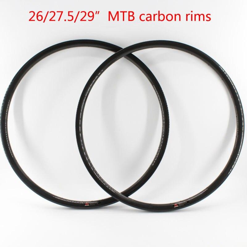 2 pcs Nouveau 26/27. 5/29er pouces pneu jante vélo de montagne 3 K UD 12 K pleine fiber de carbone vélo de roues disque jantes VTT pièces bateau Libre