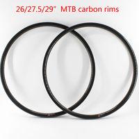 2pcs New 26/27.5/29er inch clincher rim mountain bicycle 3K UD 12K full carbon fibre bike wheelset disc rims MTB parts Free ship