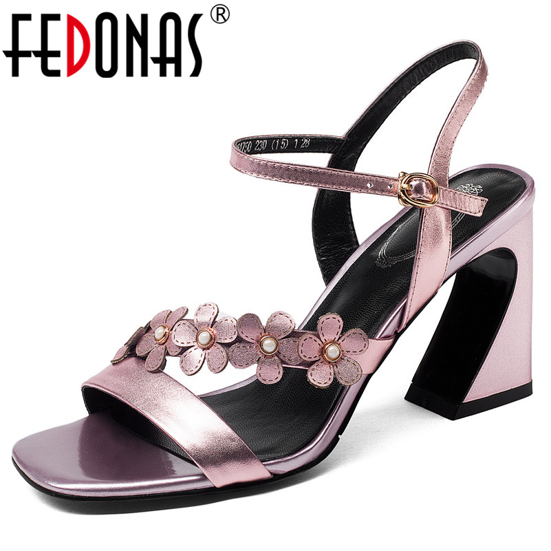 FEDONAS Fashion Summer Women Pumps Brand Design Quality Cow Leatehr High Heels Prom Party Sandals Strange Style Heel Shoes Woman