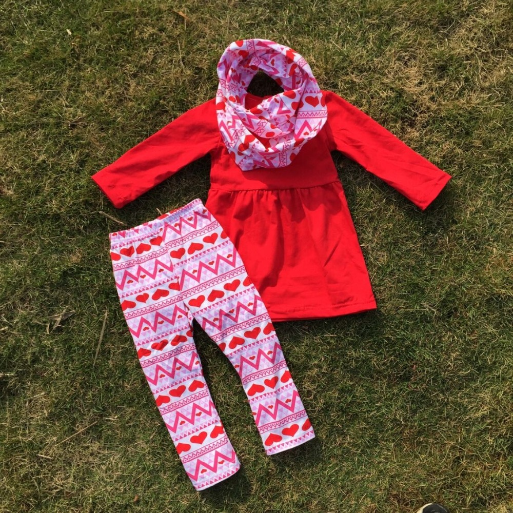 aliexpresscom buy 214 hot sale baby 3pcs clothes girls valentines day boutique clothing sets with scarf girls red top red heart pant from reliable set - Girls Valentine Outfits