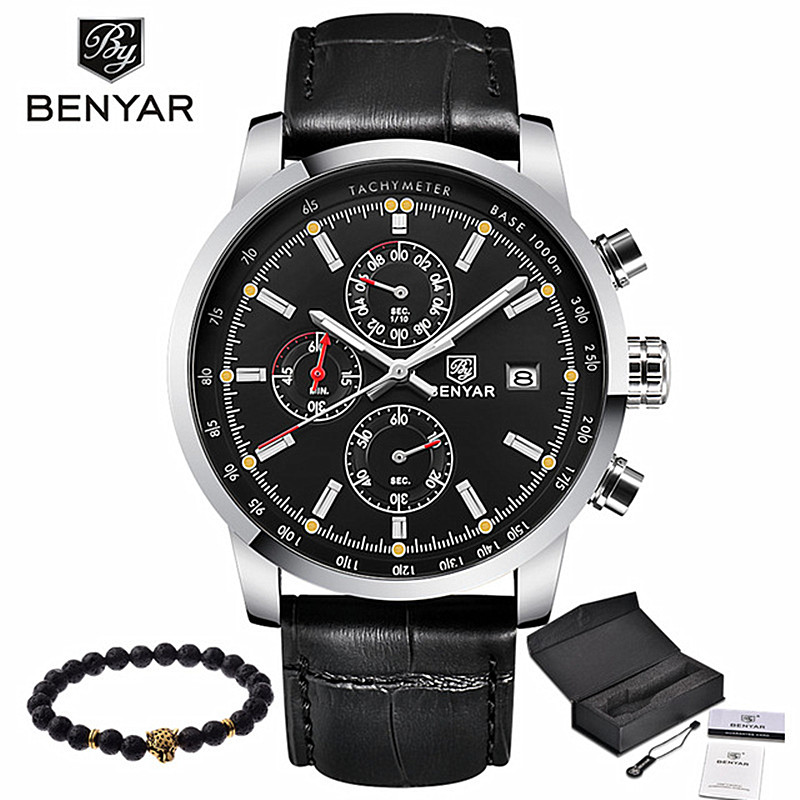 BENYAR Fashion Casual Mens Watches Luxury Brand Leather Business Quartz Watch Men Waterproof Wristwatch Relogios Masculino