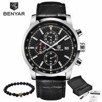BENYAR Fashion Casual Mens Watches Luxury Brand Leather Business Quartz Watch Men Waterproof Wristwatch Relogios Masculino