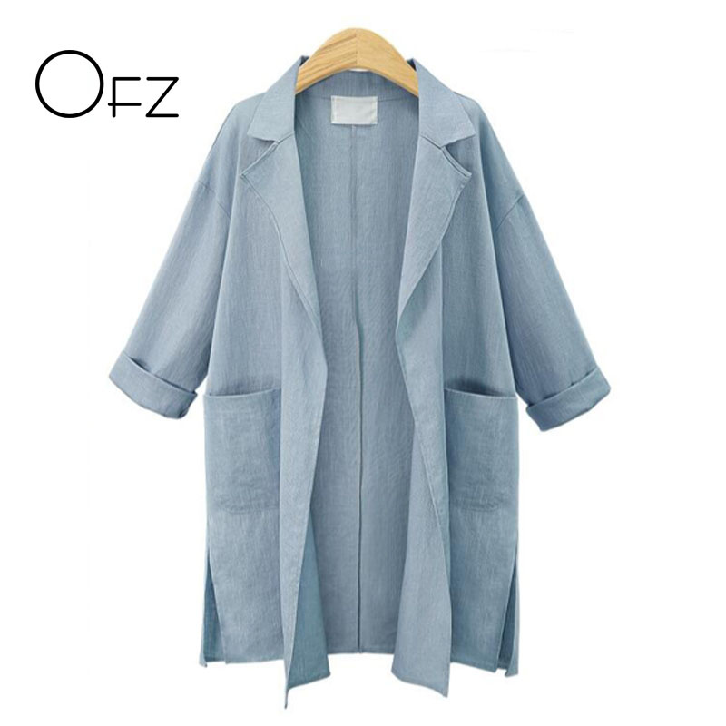 2017 Autumn Winter European Style Women Long Sleeve   Trench   Coats Double Pockets Ladies Outerwear Loose Casual Linen Cardigans