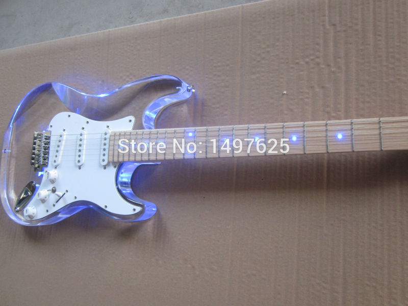 Free shipping Wholesale new Acrylic body electric guitar/fen st electric guitar/with blue LED/guitar in china free shipping new st electric guitar small dual track cut single pick up in white sbc73c wh art 36