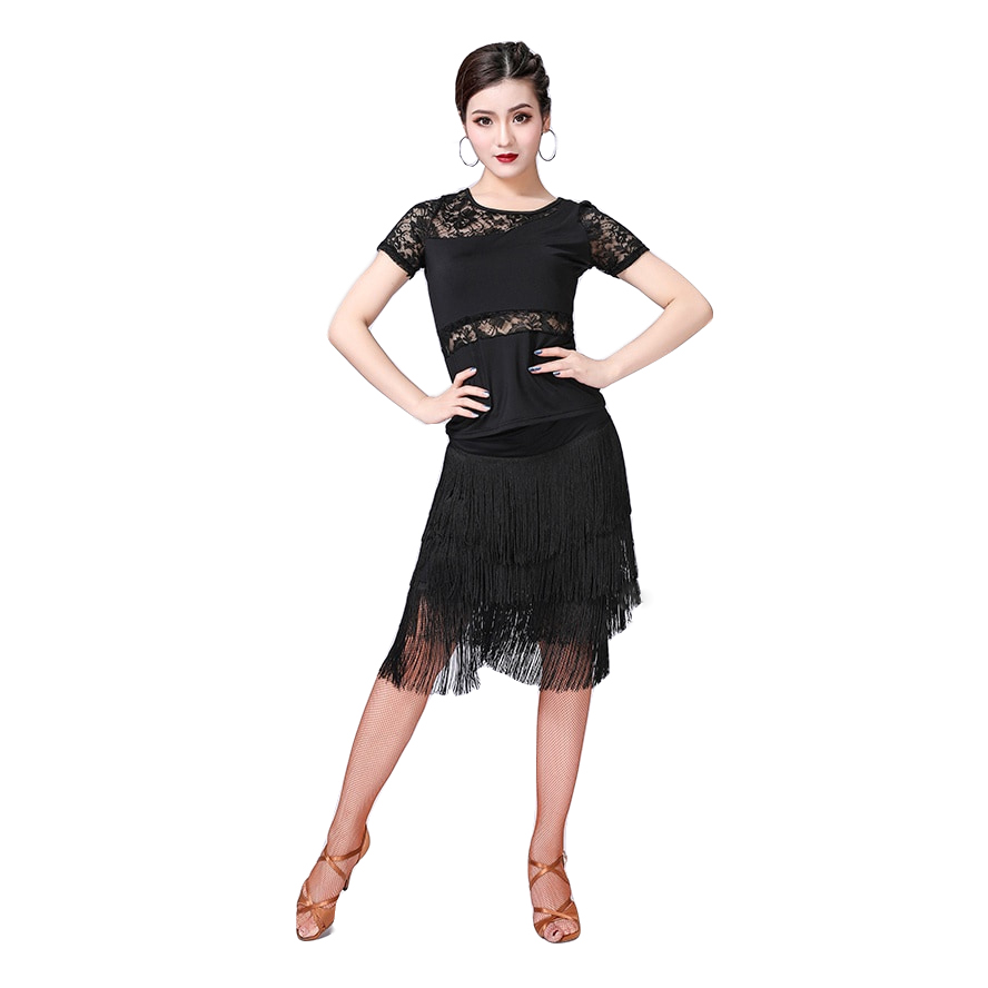 New Fashion Women Dance Clothes Salsa Samba Wear Class Dress Short Sleeves Spandex Top Lace Latin Costume Fringe Skirt