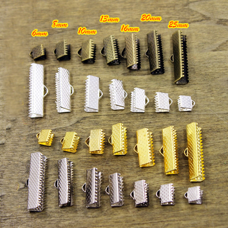 100X Plated Ribbon Clamps Crimp Ends 6mm-20mm Beads Clasps Hook Tips Connectors