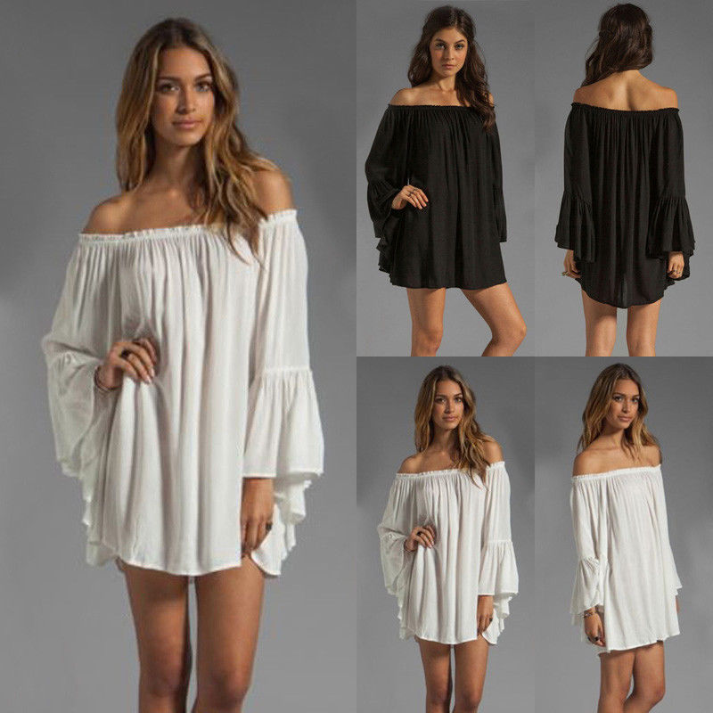 Women Tops Blouses Boho Off Shoulder Long Sleeves Loose Summer Beach Cover Up Long Blouse New