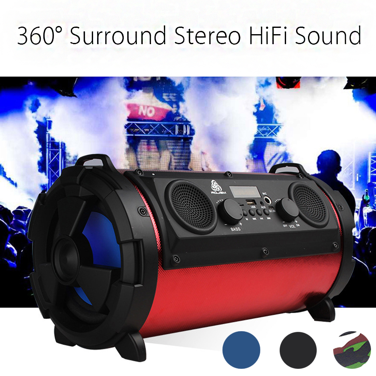 Portable Wireless Bluetooth Speaker Subwoofer With Mic Super Bass Woofer HIFI Outdoor Camping Stereo Loundspeaker portable wireless bluetooth speaker subwoofer with misic super bass speakers hifi stereo tf card outdoor loundspeaker