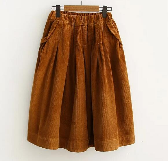 Early spring new Japanese style Corduroy solid  A-Line skirt  mori girl
