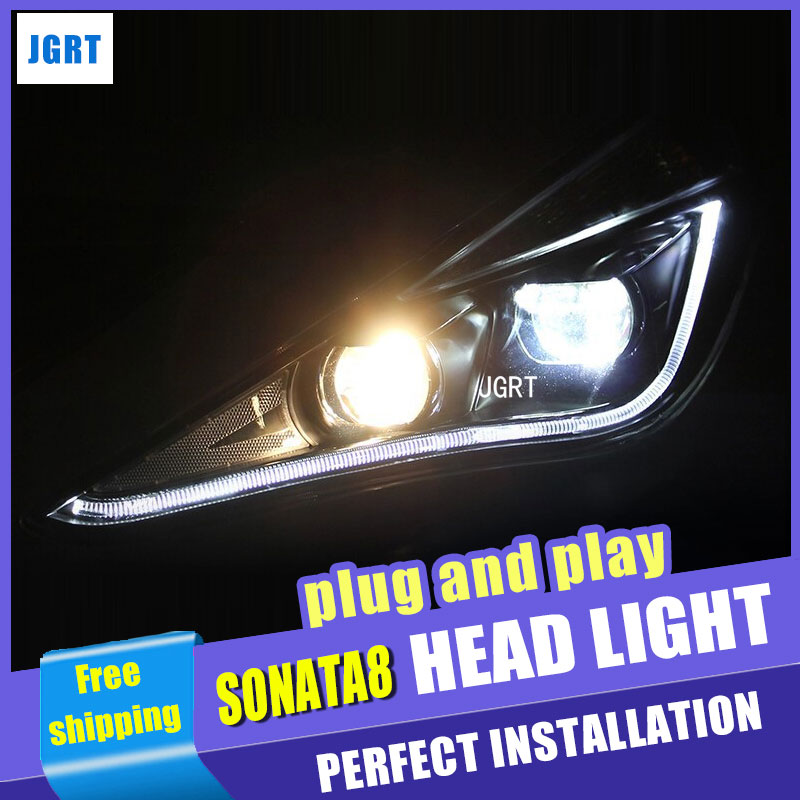 Car Stylling Led head lamp for Hyundai Sonata 8th headlight assembly sonata8 2011-2014 Angel eye led drl H7 with hid kit 2pcs.
