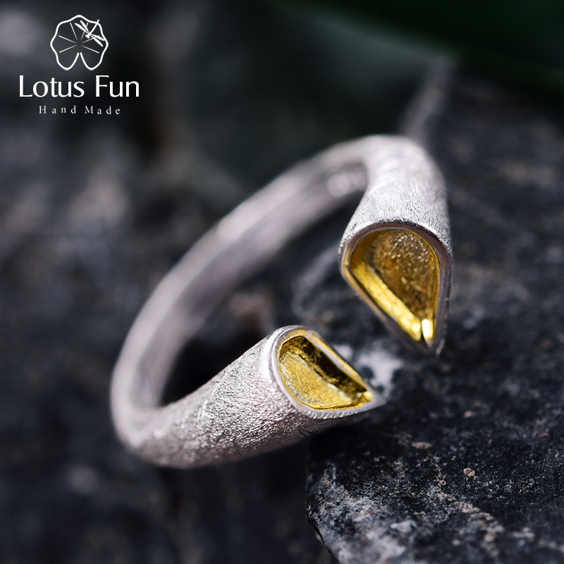 Lotus Fun Real 925 Sterling Silver Ring Natural Creative Designer Fine Jewelry Top Quality Love Heart Rings for Women Bijoux