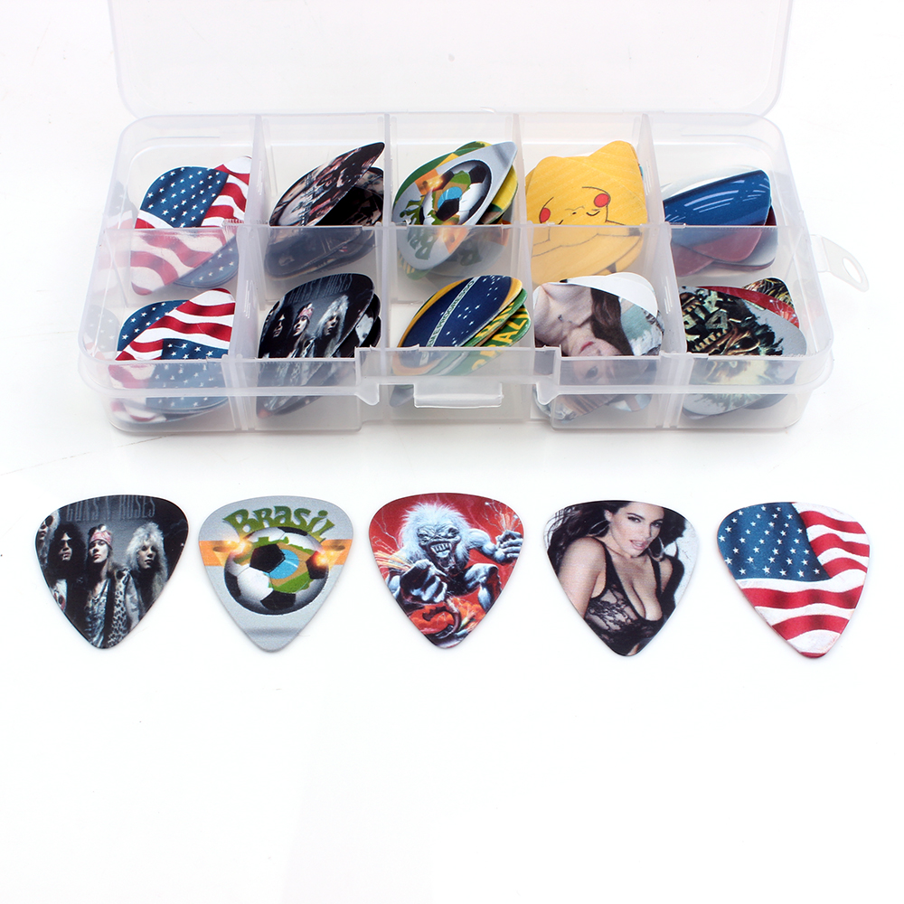 SOACH 50pcs guitarra pick box for guitar accessories plucked instrumento musical play four strings ukulele beginners