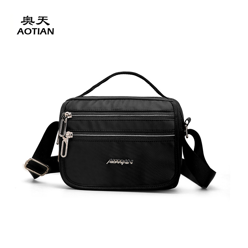 Aotian Korean style fashion popular classic nylon small cute portable men messenger bag vogue mini youth boy crossbody handbag squirrel fashion rivet punk nylon with leather english style girls backpacks doodle classic vogue popular cute women travel bag