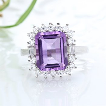 2019 new-designed 925 sterling silver natural amethyst purple crystal adjustable gemstone jewelry ring for female