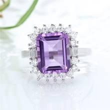 Женское кольцо из серебра 2019 пробы с натуральным аметистом