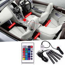 LED light 12V car light strip RGB wireless remote control music voice control car interior lights atmosphere lights auto parts 6x led strips motorcycle car styling air atmosphere interior light rgb 16 color ambient infrared remote wireless music control