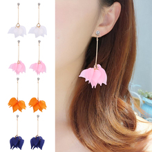 HOCOLE 2019 Trendy Za Elegant Flower earrings for women Fashion Korean Long Dangle Earrings Female Jewelry Wedding Party Gift